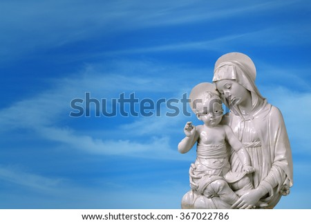 Horizontal Image of the Virgin Mary Carrying the Baby Jesus - stock photo