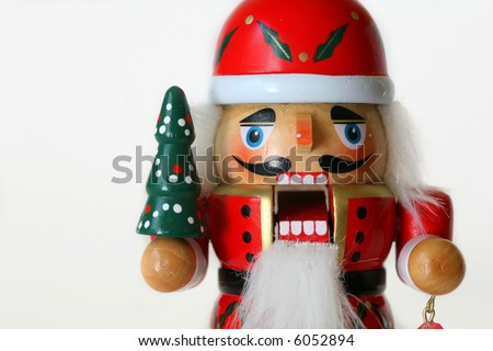 Horizontal nutcracker close-up. - stock photo