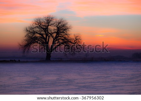 horizontal orientation color image of a Colorado sunrise in purple, pink and orange hues, with reduced clarity for an ethereal look / Sublime Sunrise - Horizontal - stock photo