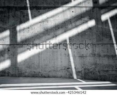 Horizontal Photo Blank Grungy and Smooth Bare Concrete Wall with White Sunrays Reflecting on Dark Surface. Empty Abstract background. - stock photo