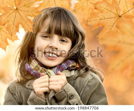 horizontal photo, happy beautiful little girl , autumnal portrait - stock photo