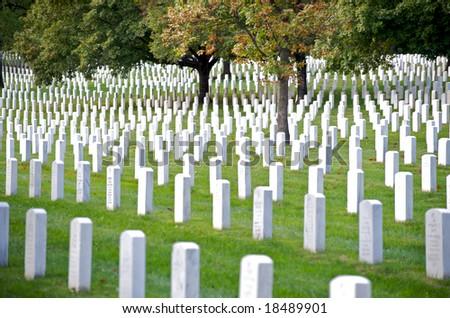 Horizontal photo of gravestones at Arlington National Cemetery - stock photo