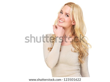 Horizontal portrait of a beautiful young female fashion model with a smile on her face. Isolated on white background. Possibility of copy space. - stock photo