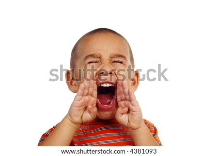 Horizontal portrait of a young boy yelling - stock photo
