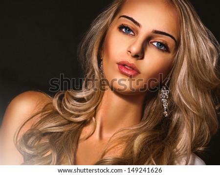 Horizontal portrait of nice adult female - stock photo