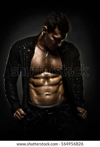 horizontal portrait the very muscular handsome sexy guy , naked  torso - stock photo