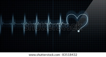 Horizontal Pulse Trace Heart Monitor with the symbol of a heart in line with the pulse. - stock photo