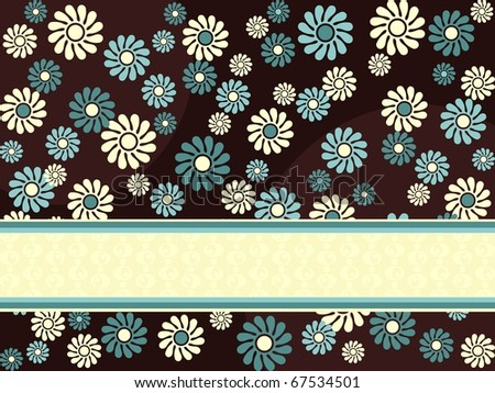 Horizontal retro banner with blue flowers(jpg); vector version also available - stock photo