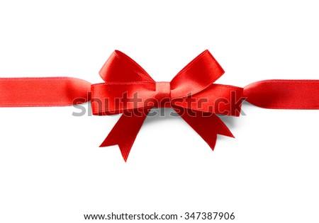Horizontal ribbon with bow, isolated on white - stock photo