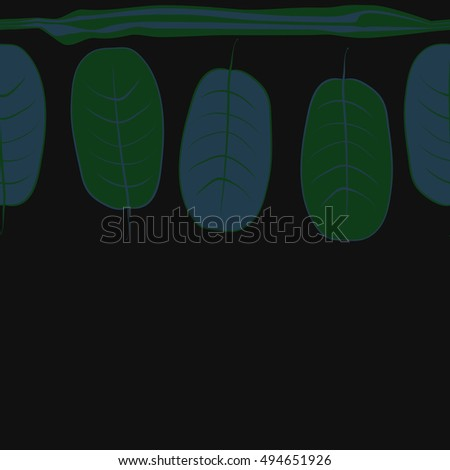 Horizontal seamless pattern with leaves, stripes. Hand drawn.