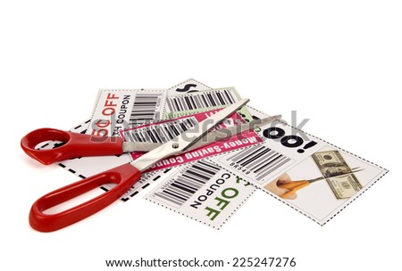 Horizontal Shot Concept Of Clipping Coupons/ Save Money/ Clip Coupons/ Isolated On White - stock photo