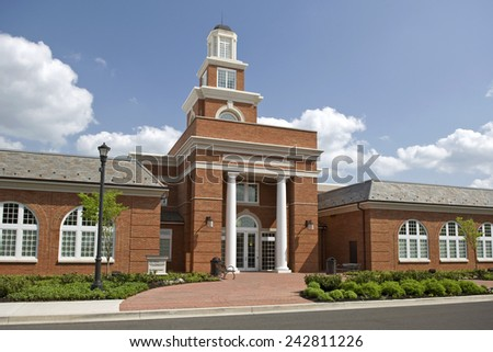 Horizontal Shot Of A Modern City Hall In Small Town - stock photo