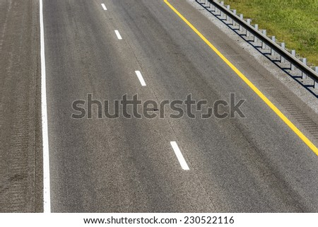 Horizontal Shot Of Empty Highway/ Empty Interstate Highway - stock photo