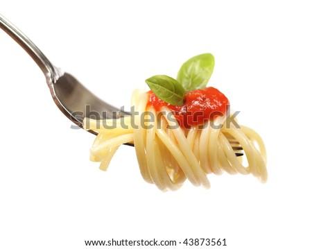 Horizontal shot of pasta with sauce - stock photo