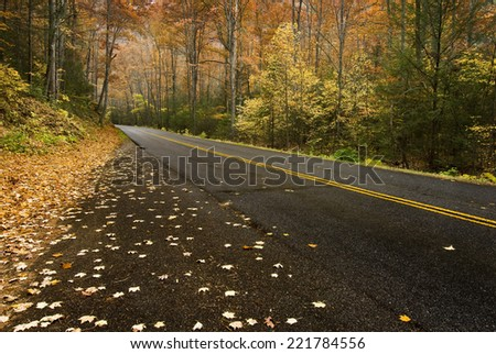 Horizontal Shot Of Road In Mountains During Fall Or Autumn - stock photo