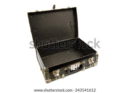 Horizontal Shot Of Worn Old Suitcase On White Background - stock photo