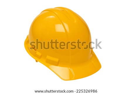 Horizontal Shot Of Yellow Construction Hard Hat Isolated On White