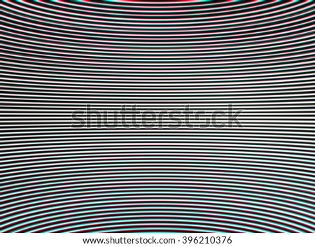 Horizontal stereo chroma interlaced and curved tv lines abstraction background - stock photo
