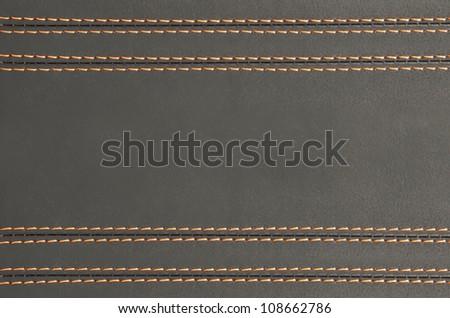 horizontal stitched leather background , art wallpaper - stock photo