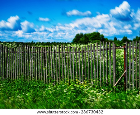 Horizontal summer bokeh fence background backdrop