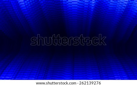 Horizontal vibrant vivid blue business presentation 3d extruded cubes tunnel abstraction background backdrop - stock photo