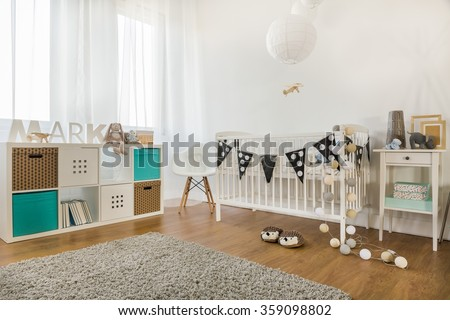 Horizontal view of baby boy room decoration
