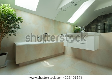 Horizontal view of bathroom in the attic - stock photo