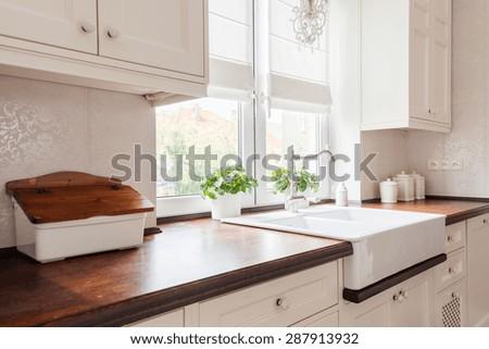 Horizontal view of beauty designed retro kitchen - stock photo