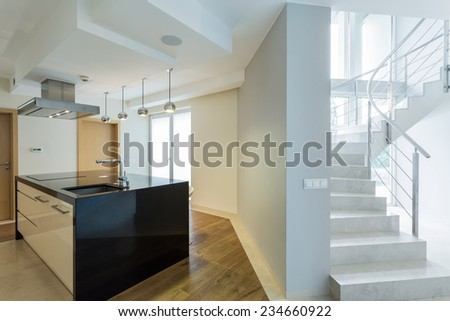 Horizontal view of bright and designer interior - stock photo
