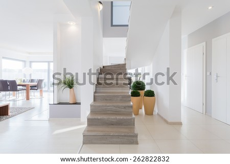 Horizontal view of bright spacious detached house - stock photo