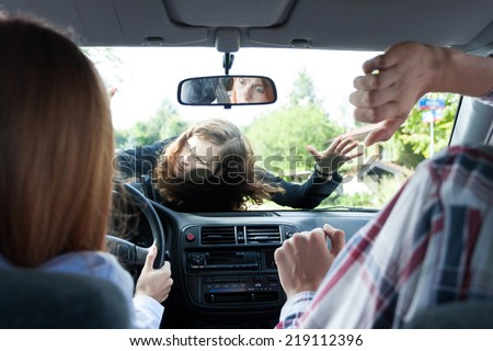 Horizontal view of car accident with pedestrian - stock photo