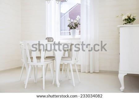 Horizontal view of cozy interior in vintage style - stock photo