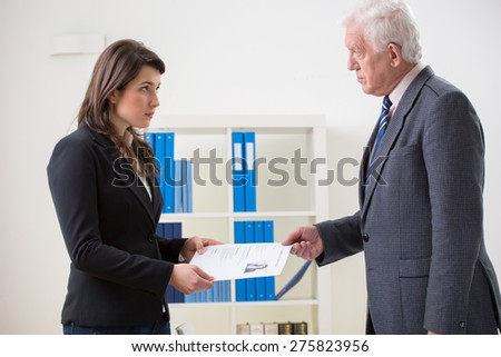 Horizontal view of end of negative interview - stock photo