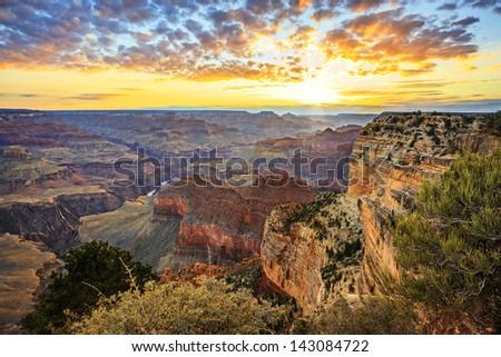 Horizontal view of famous Grand Canyon at sunrise, horizontal view - stock photo