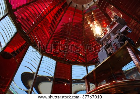 Horizontal View of Fresnel Lens and Lamps, Umpquah River Lighthouse, Winchester Bay, Oregon - stock photo