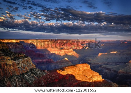 horizontal view of Grand Canyon at sunrise in september - stock photo