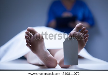 Horizontal view of identification of dead body - stock photo