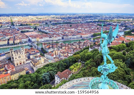 Horizontal view of Lyon from the top of Notre Dame de Fourviere - stock photo