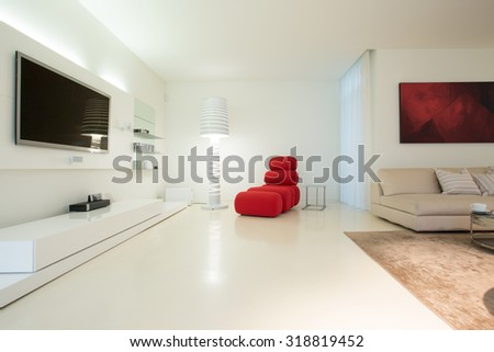 Horizontal view of modern living room design - stock photo