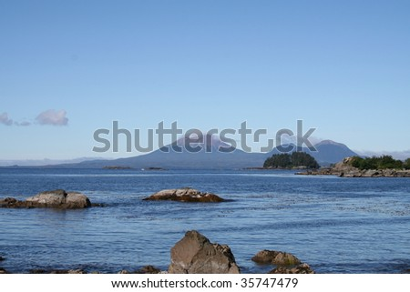 Horizontal view of Mt. Edgecumbe volcano near Sitka, Alaska - stock photo