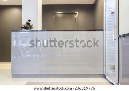 Horizontal view of reception in business building - stock photo