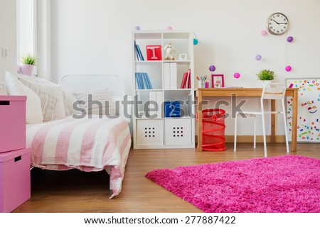 Horizontal view of room design for schoolgirl - stock photo
