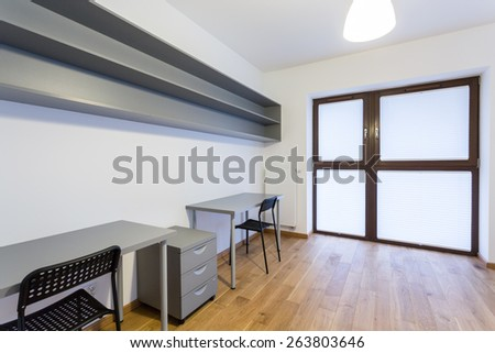 Horizontal view of small office at home - stock photo