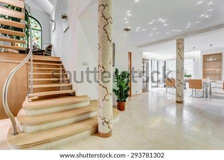 Horizontal view of stairway in luxury residence - stock photo