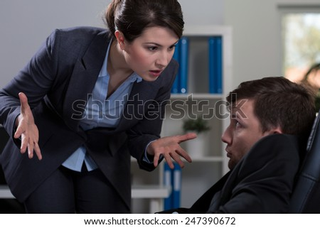 Horizontal view of victim of workplace bullying - stock photo