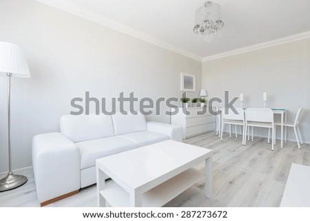 Horizontal view of white studio apartment interior - stock photo