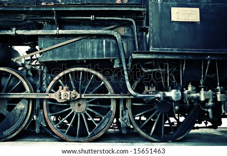 horizontal vintage train - stock photo