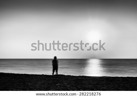 Horizontal vivid black and white meeting ocean sunset lonely man abstraction landscape background backdrop