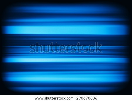 Horizontal vivid blue interlaced tv static noise lines abstraction background backdrop - stock photo