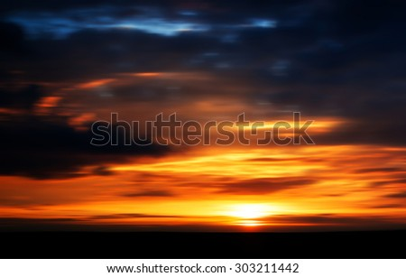 Horizontal vivid sunset forest landscape silhouette motion abstraction